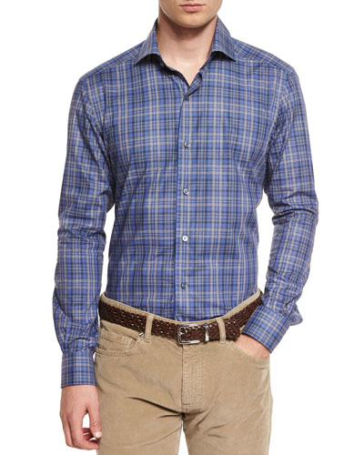 Melange Plaid Long-Sleeve Sport Shirt, Blue