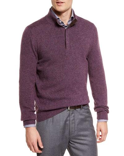 Melange Half-Zip Pullover Sweater, Plum