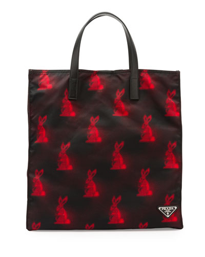 Digital Bunny-Print Nylon Tote Bag, Black/Red