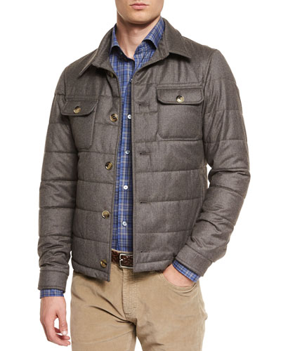 Cashmere-Blend Button-Down Field Jacket, Brown