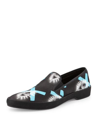 Runway Printed Slip-On Sneaker, Black/Blue