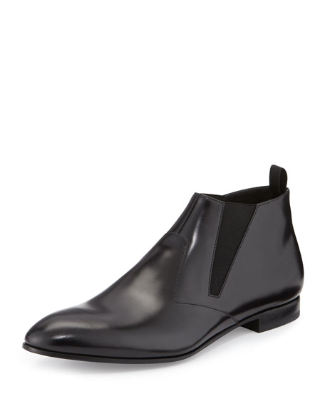 Runway Leather Chelsea Boot, Black