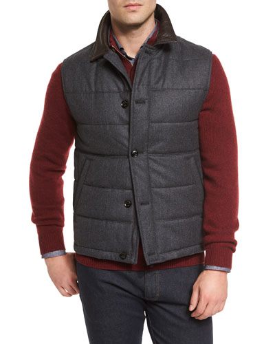 Quilted Flannel Button-Down Vest, Charcoal