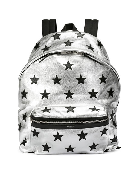 Metallic Buffalo-Leather Backpack with Stars, Silver