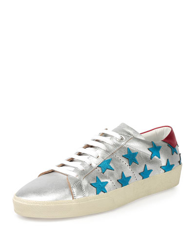 Metallic Stars Leather Low-Top Sneaker, Silver/Blue