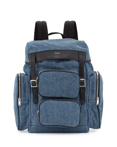 Utilitarian Denim Backpack, Blue