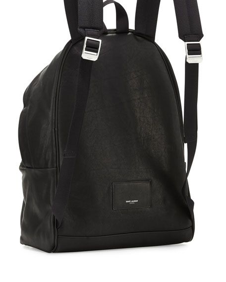 Leather Backpack with Fringe Detail, Black