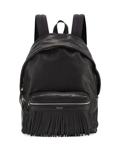 Leather Backpack with Fringe Detail, Black
