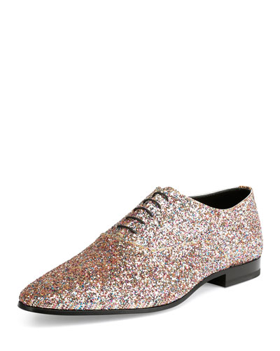 Jewel Sequined Lace-Up Shoe, Multicolors