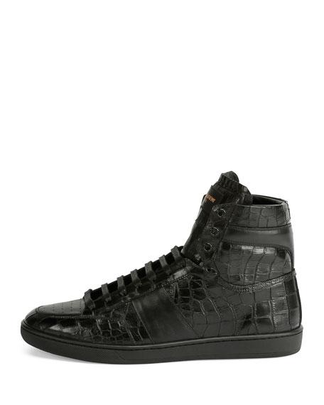 Croc-Embossed Leather High-Top Sneaker, Black