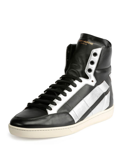 Star-Back Leather High-Top Sneaker, Black/Silver