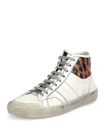 Leopard-Trim Leather High-Top Sneaker, White