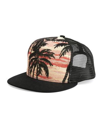 Palm Tree Printed Flat-Bill Hat, Multi