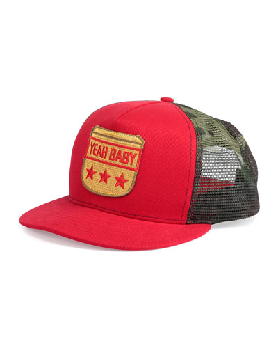Yeah Baby Flat-Bill Hat, Red/Green