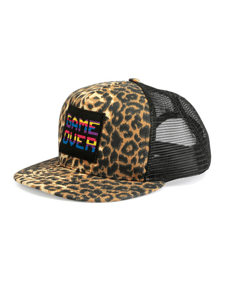 "Leopard-Print ""Game Over"" Flat-Bill Hat, Brown"