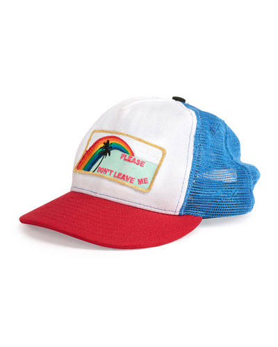 Please Don't Leave Me Flat-Bill Hat, Blue/Red/White