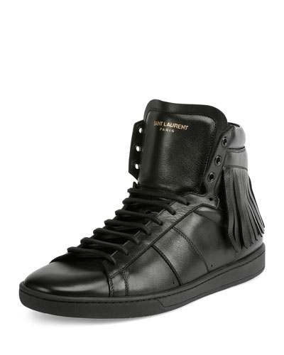 Leather High-Top Sneaker with Fringe, Black