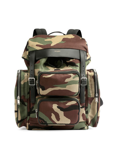 Utilitarian Camo-Print Backpack, Green Multi
