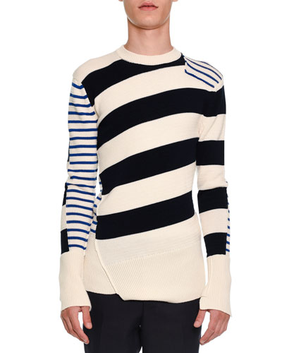 Patchwork Striped Crewneck Sweater, Ivory/Navy