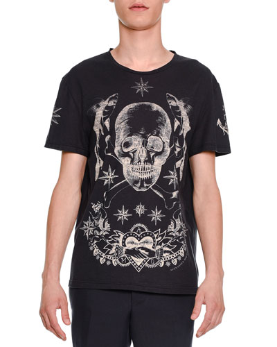 Skull & Star Graphic Short-Sleeve Tee, Navy