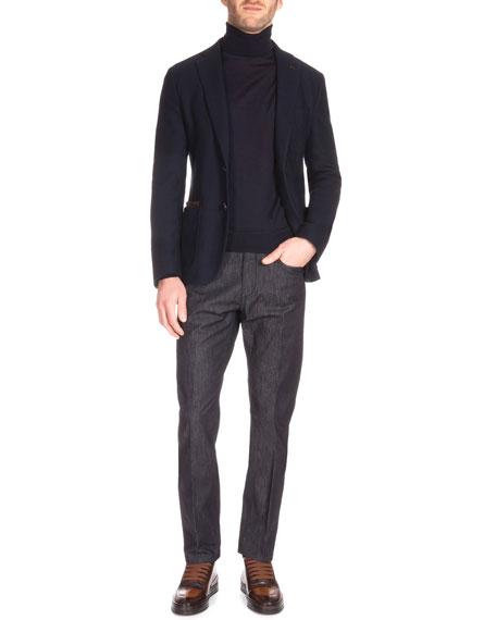 Stretch Denim Jeans with Leather Detail, Indigo