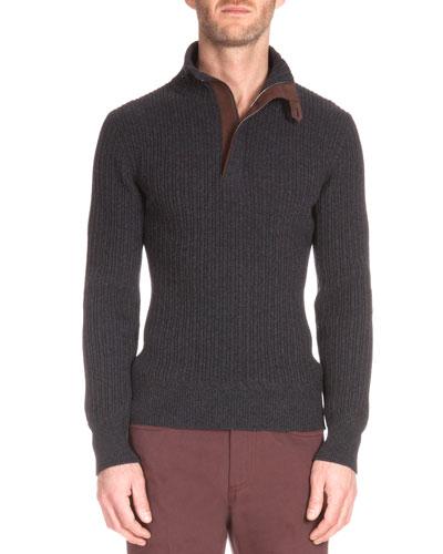 Suede-Trim Quarter-Zip Cashmere Pullover, Charcoal