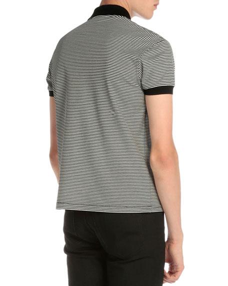 Striped Monogram Pique Polo Shirt
