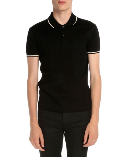 Tipped Short-Sleeve Polo Shirt, Black