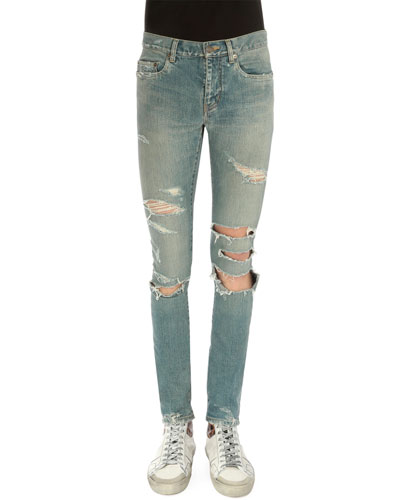 Super-Torn Destroyed Denim Jeans, Light Blue