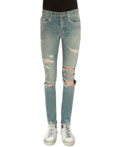 Super-Torn Destroyed Denim Jeans, Light Blue