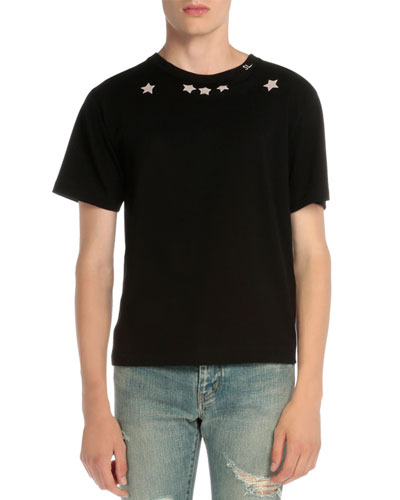 Star-Print Short-Sleeve T-Shirt, Black