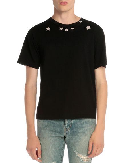 Star-Print Short-Sleeve T-Shirt, Black