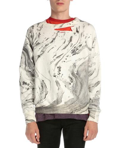Ripped Tie-Dye Crewneck Sweatshirt, White