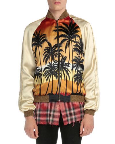 Palm Tree-Print Satin Bomber Jacket, Multi