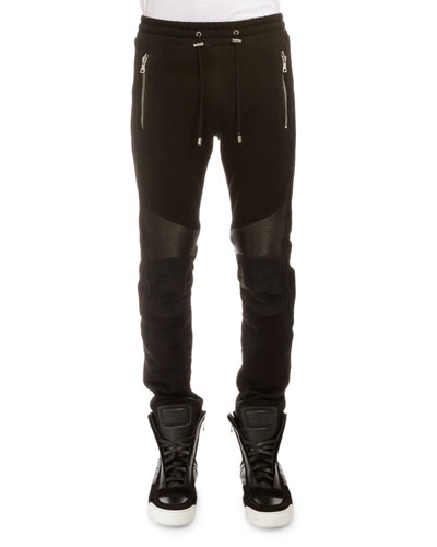 Leather-Trimmed Biker Pants, Black