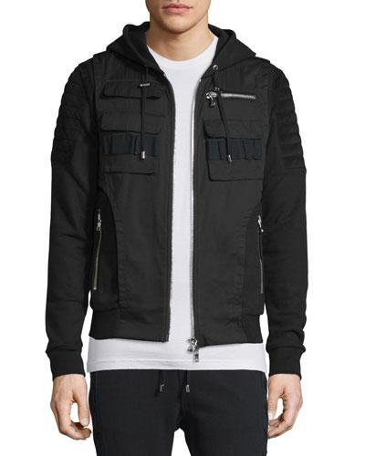 Suede-Trimmed Zip-Front Moto Hoodie, Black