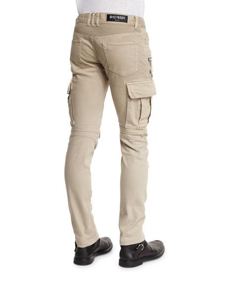 Slim Cotton Denim Biker Pants, Beige