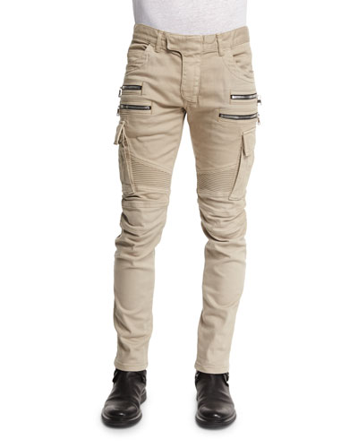 Slim Cotton Denim Biker Pants, Beige