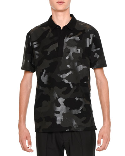 Tonal Camo-Print Polo Shirt, Black