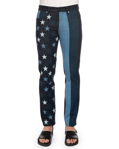 Multi Stars & Stripes Printed Denim Jeans, Black