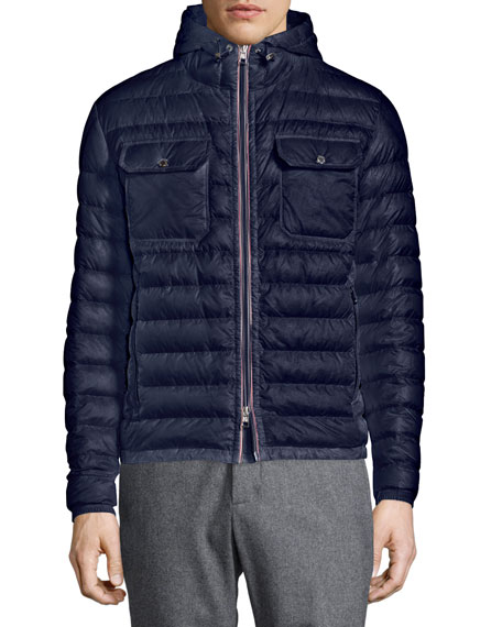 Douret Quilted Nylon Jacket with Hood, Navy
