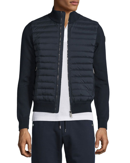 Moncler Quilted Jersey Track Jacket with Nylon Front,