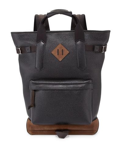 Two-Tone Leather Backpack Tote Bag, Black/Bone