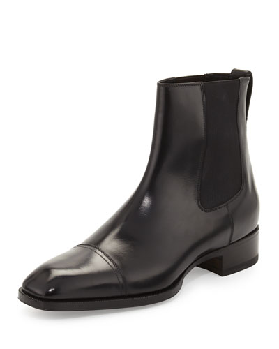 Gianni Leather Chelsea Boot, Black
