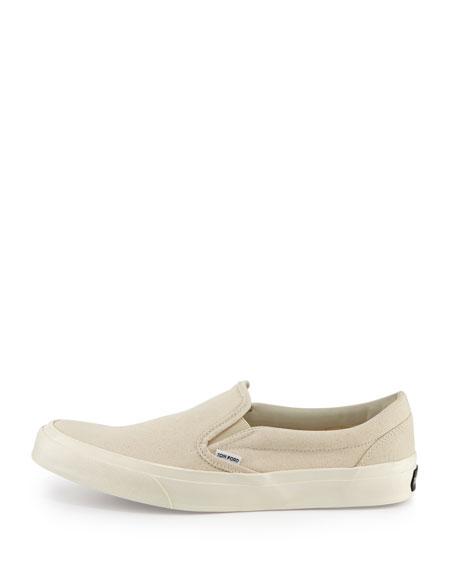 Cambridge Kid Leather Slip-On Sneaker, Light Tan