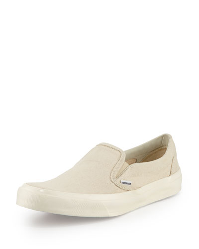 Cambridge Kid Leather Slip-On Sneaker, Light Tan
