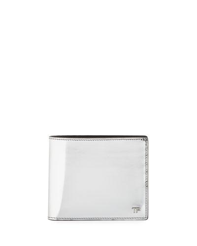 Men's Mirrored Leather Bi-Fold Wallet, Silver