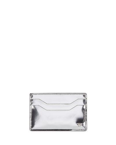 Men's Mirrored Leather Card Case, Silver