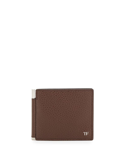 Leather Bifold Wallet with Money Clip, Brown