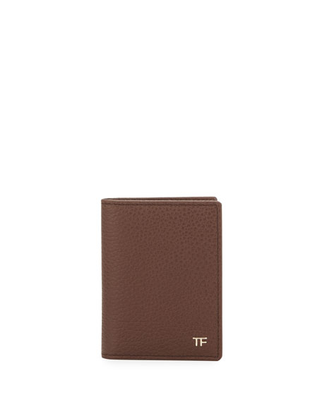 Folded Calfskin Credit Card Case, Brown